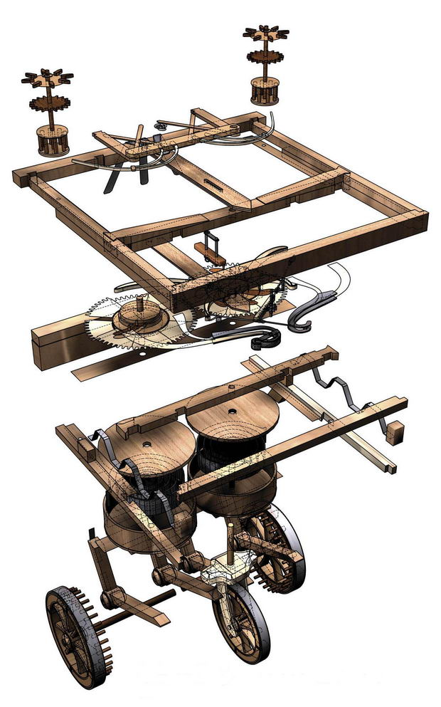 первый автомобиль от Леонардо да Винчи 1490 год